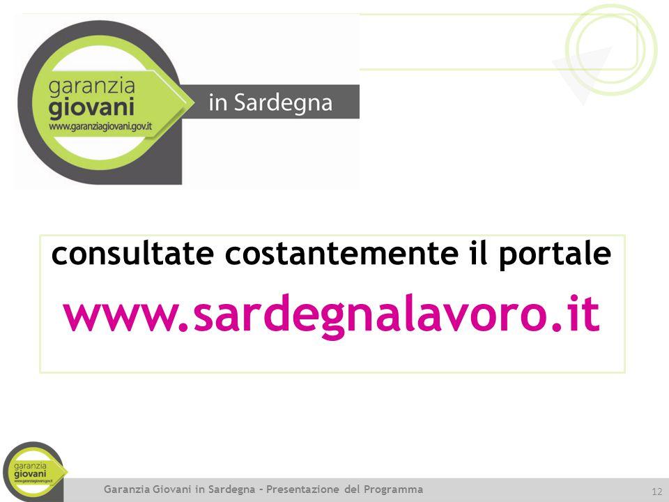 12 consultate costantemente il portale www.sardegnalavoro.it Garanzia Giovani in Sardegna – Presentazione del Programma