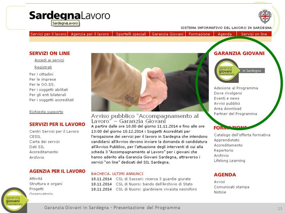 13 Garanzia Giovani in Sardegna – Presentazione del Programma
