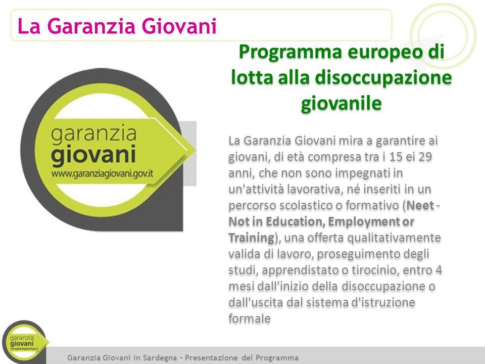 La Garanzia Giovani Garanzia Giovani in Sardegna – Presentazione del Programma Programma europeo di lotta alla disoccupazione giovanile La Garanzia Gi