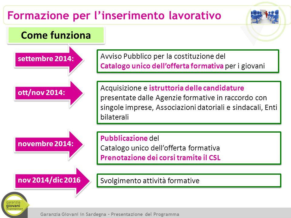 Formazione per l'inserimento lavorativo Come funziona Avviso Pubblico per la costituzione del Catalogo unico dell'offerta formativa per i giovani Avvi
