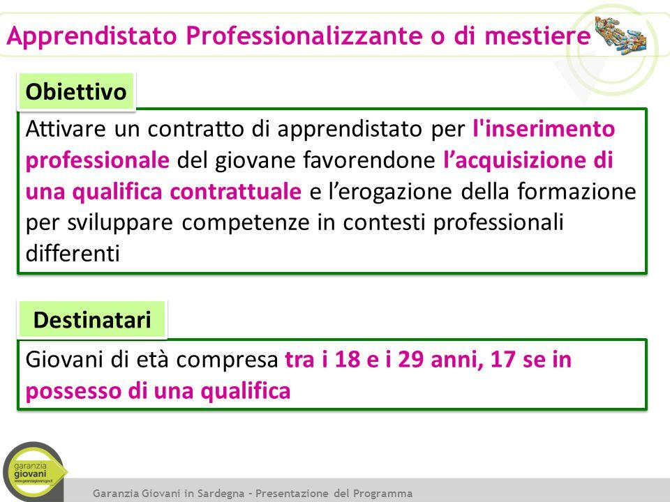 Attivare un contratto di apprendistato per l'inserimento professionale del giovane favorendone l'acquisizione di una qualifica contrattuale e l'erogaz