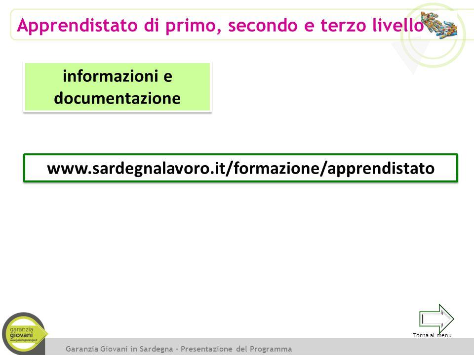 Garanzia Giovani in Sardegna – Presentazione del Programma Apprendistato di primo, secondo e terzo livello informazioni e documentazione www.sardegnal