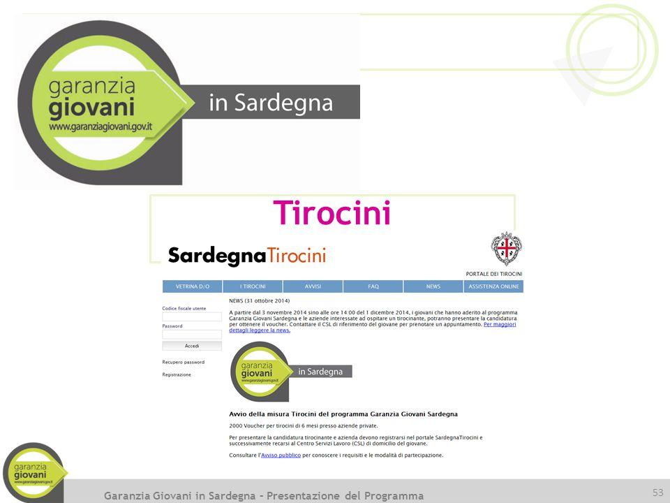 53 Tirocini Garanzia Giovani in Sardegna – Presentazione del Programma