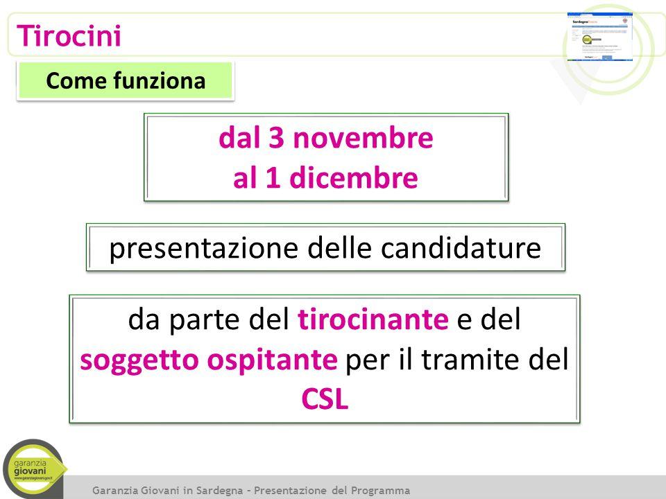 Tirocini Come funziona presentazione delle candidature Garanzia Giovani in Sardegna – Presentazione del Programma dal 3 novembre al 1 dicembre dal 3 n