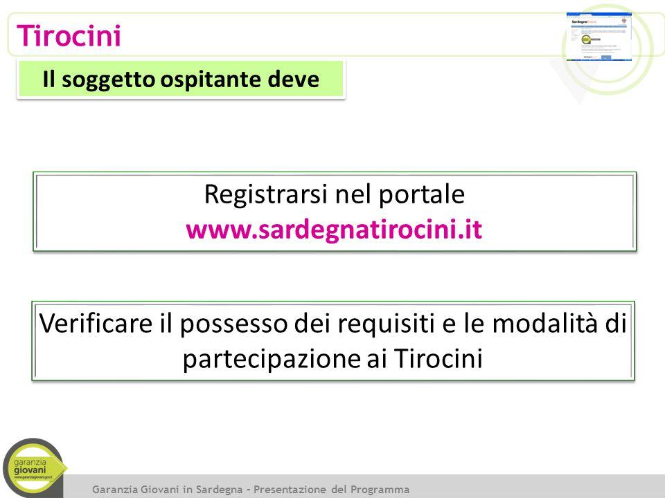 Tirocini Garanzia Giovani in Sardegna – Presentazione del Programma Il soggetto ospitante deve Registrarsi nel portale www.sardegnatirocini.it Registr