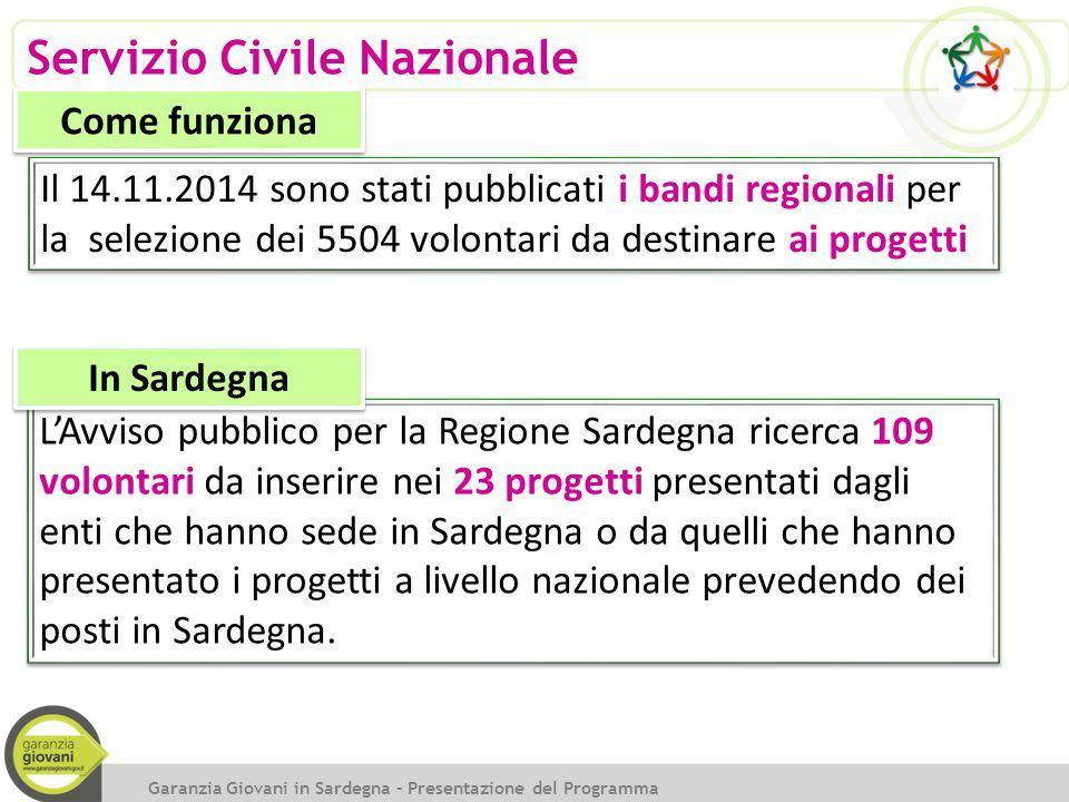 Servizio Civile Nazionale Il 14.11.2014 sono stati pubblicati i bandi regionali per la selezione dei 5504 volontari da destinare ai progetti Garanzia