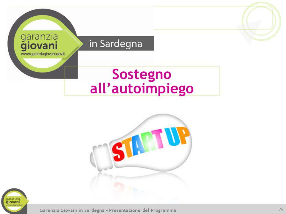 75 Sostegno all'autoimpiego Garanzia Giovani in Sardegna – Presentazione del Programma