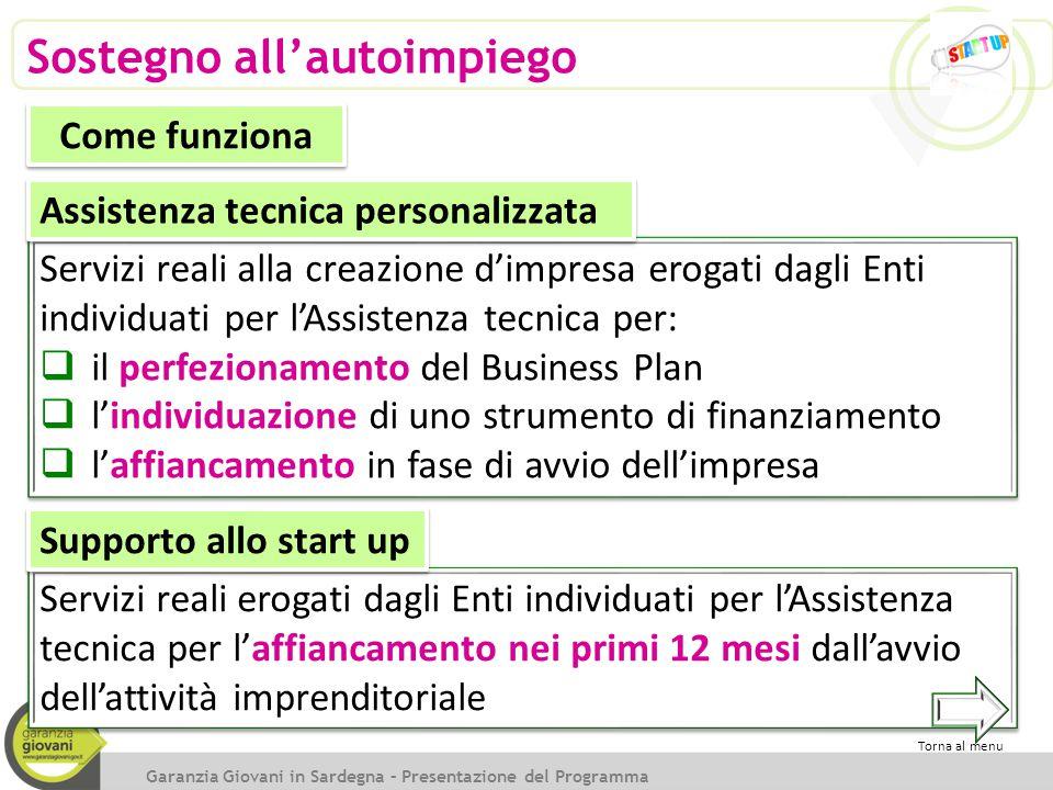 Servizi reali alla creazione d'impresa erogati dagli Enti individuati per l'Assistenza tecnica per:  il perfezionamento del Business Plan  l'individ