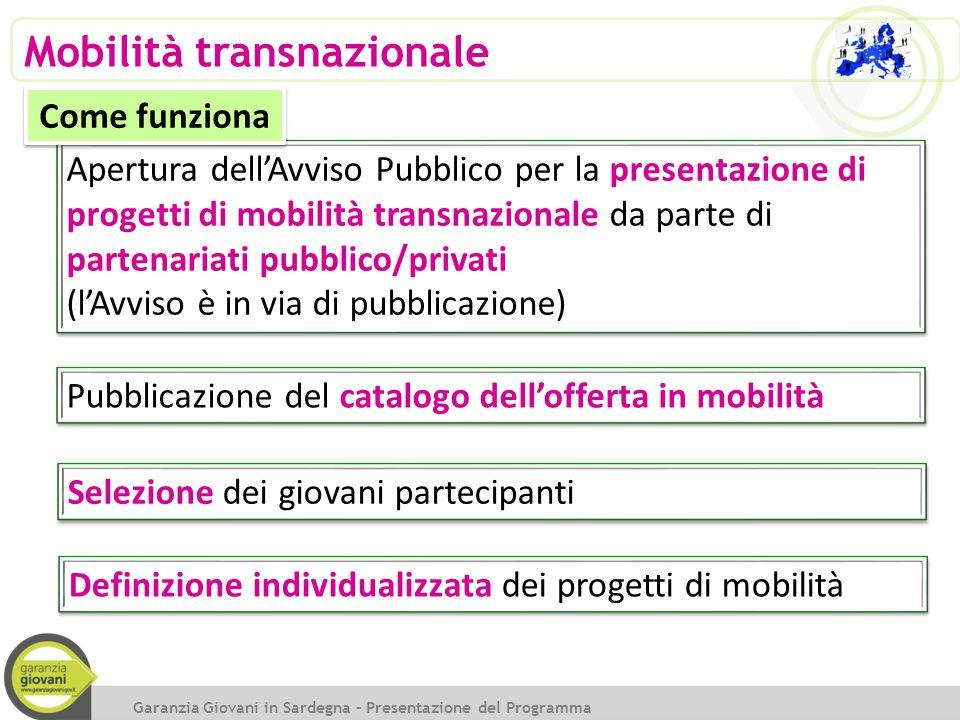 Apertura dell'Avviso Pubblico per la presentazione di progetti di mobilità transnazionale da parte di partenariati pubblico/privati (l'Avviso è in via