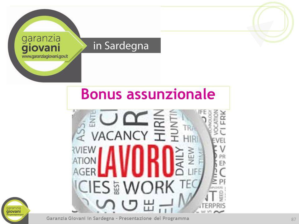 87 Bonus assunzionale Garanzia Giovani in Sardegna – Presentazione del Programma