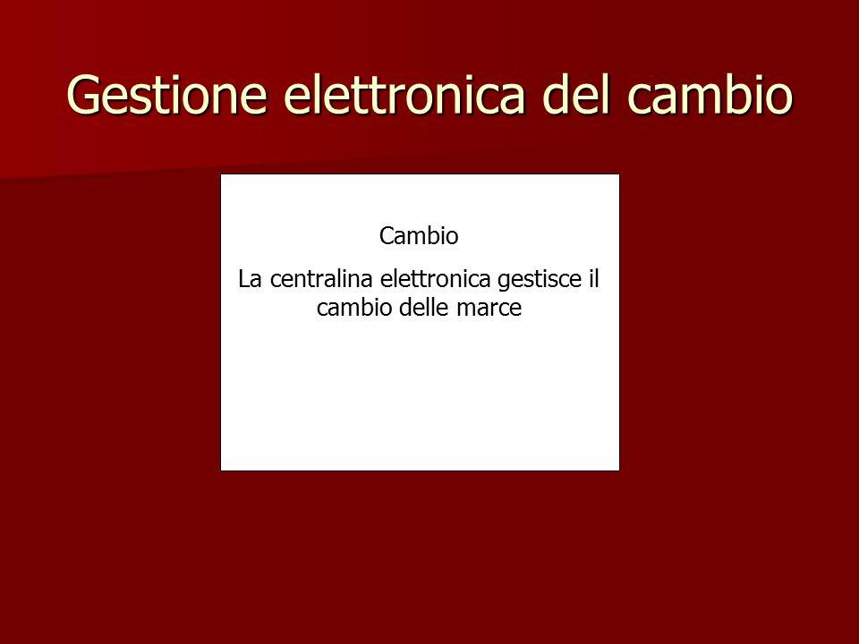 Gestione elettronica del cambio Cambio La centralina elettronica gestisce il cambio delle marce