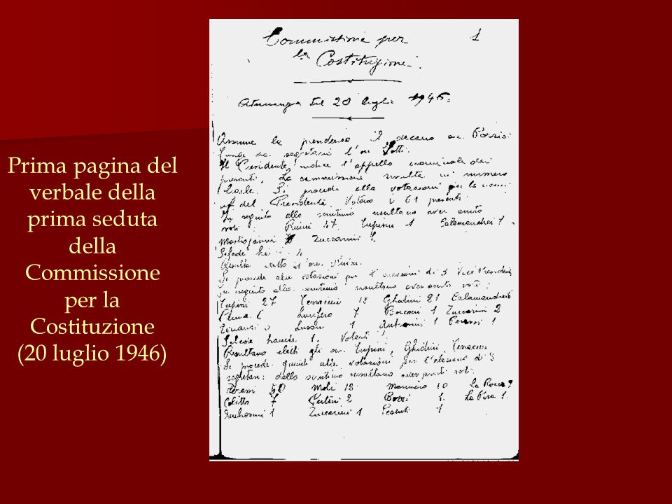 Prima pagina del verbale della prima seduta della Commissione per la Costituzione (20 luglio 1946)