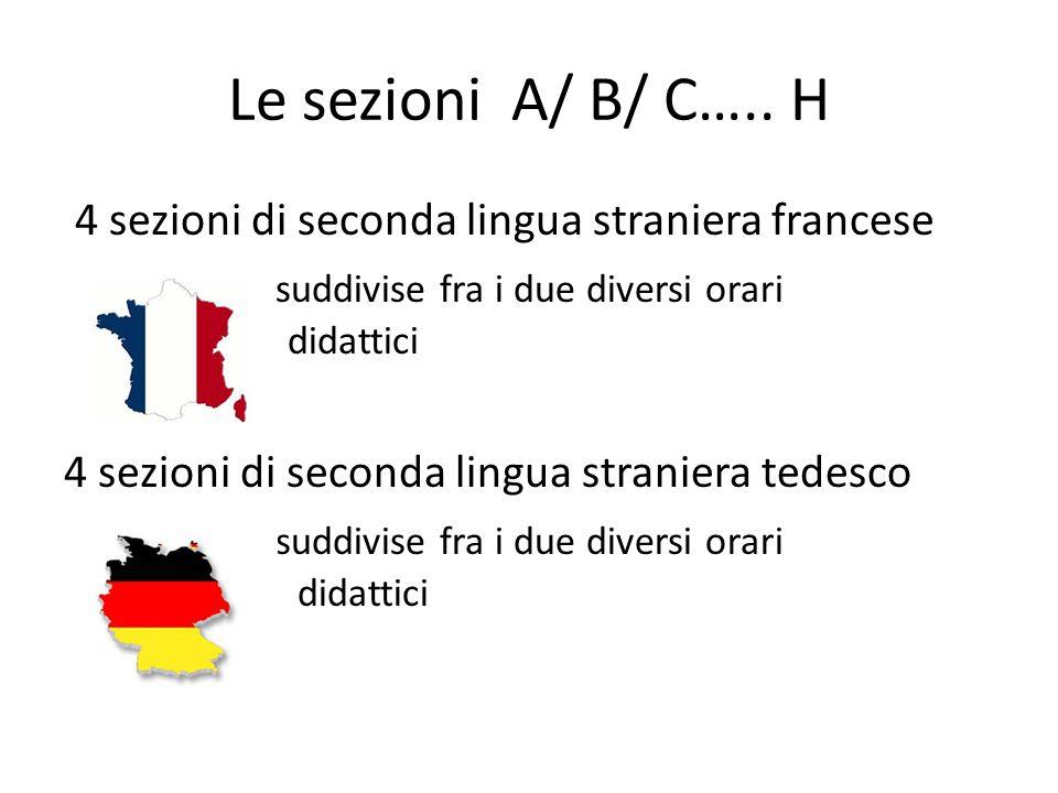 Le sezioni A/ B/ C….. H 4 sezioni di seconda lingua straniera francese suddivise fra i due diversi orari didattici 4 sezioni di seconda lingua stranie