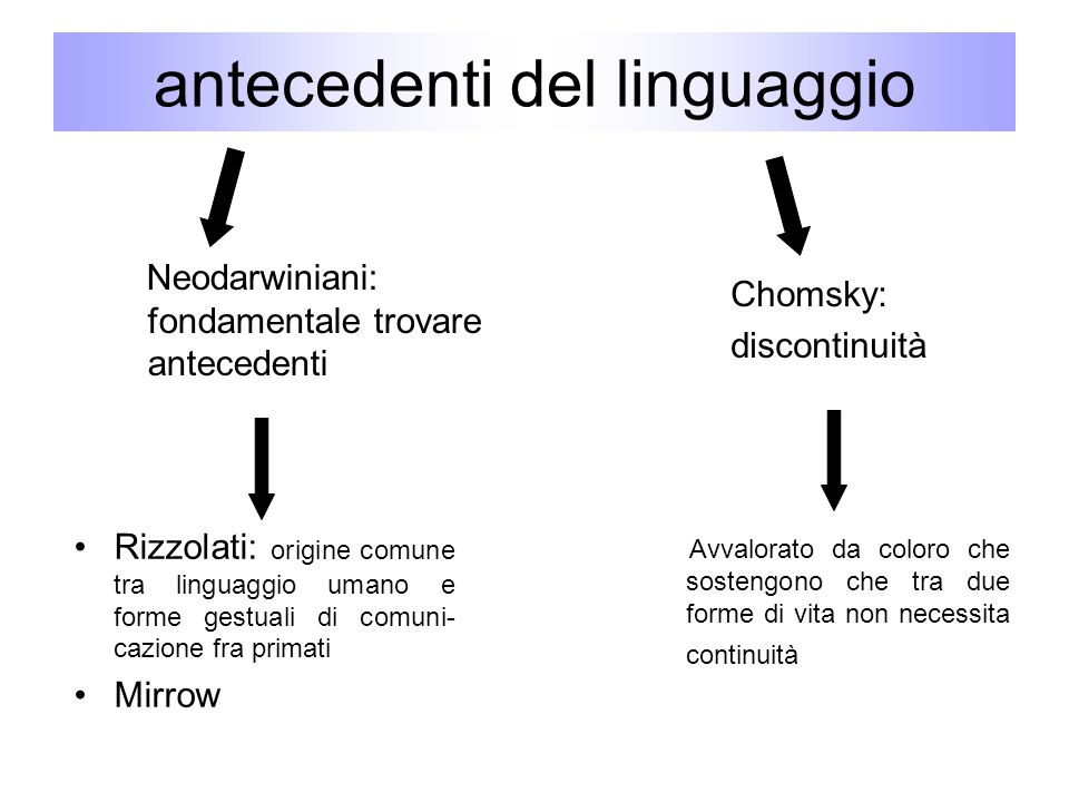 antecedenti del linguaggio Neodarwiniani: fondamentale trovare antecedenti Chomsky: discontinuità Rizzolati: origine comune tra linguaggio umano e for