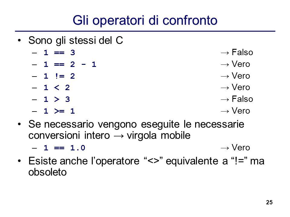 25 Gli operatori di confronto Sono gli stessi del C – 1 == 3 → Falso – 1 == 2 - 1 → Vero – 1 != 2 → Vero – 1 < 2 → Vero – 1 > 3 → Falso – 1 >= 1 → Ver