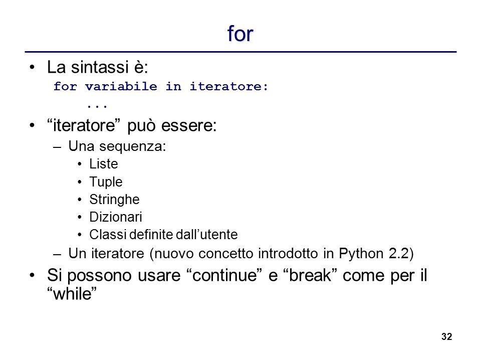 """32 for La sintassi è: for variabile in iteratore:... """"iteratore"""" può essere: –Una sequenza: Liste Tuple Stringhe Dizionari Classi definite dall'utente"""