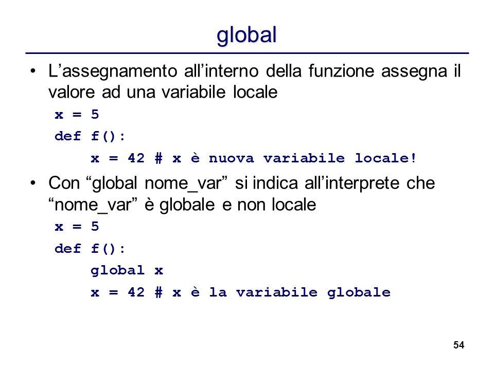 54 global L'assegnamento all'interno della funzione assegna il valore ad una variabile locale x = 5 def f(): x = 42 # x è nuova variabile locale! Con