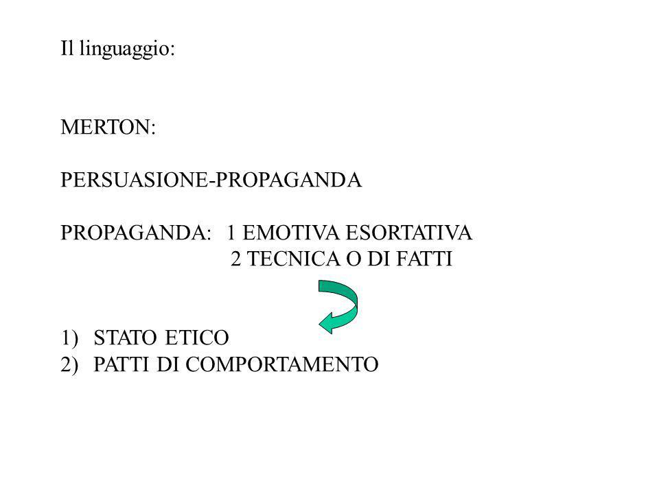 Il linguaggio: MERTON: PERSUASIONE-PROPAGANDA PROPAGANDA: 1 EMOTIVA ESORTATIVA 2 TECNICA O DI FATTI 1)STATO ETICO 2)PATTI DI COMPORTAMENTO