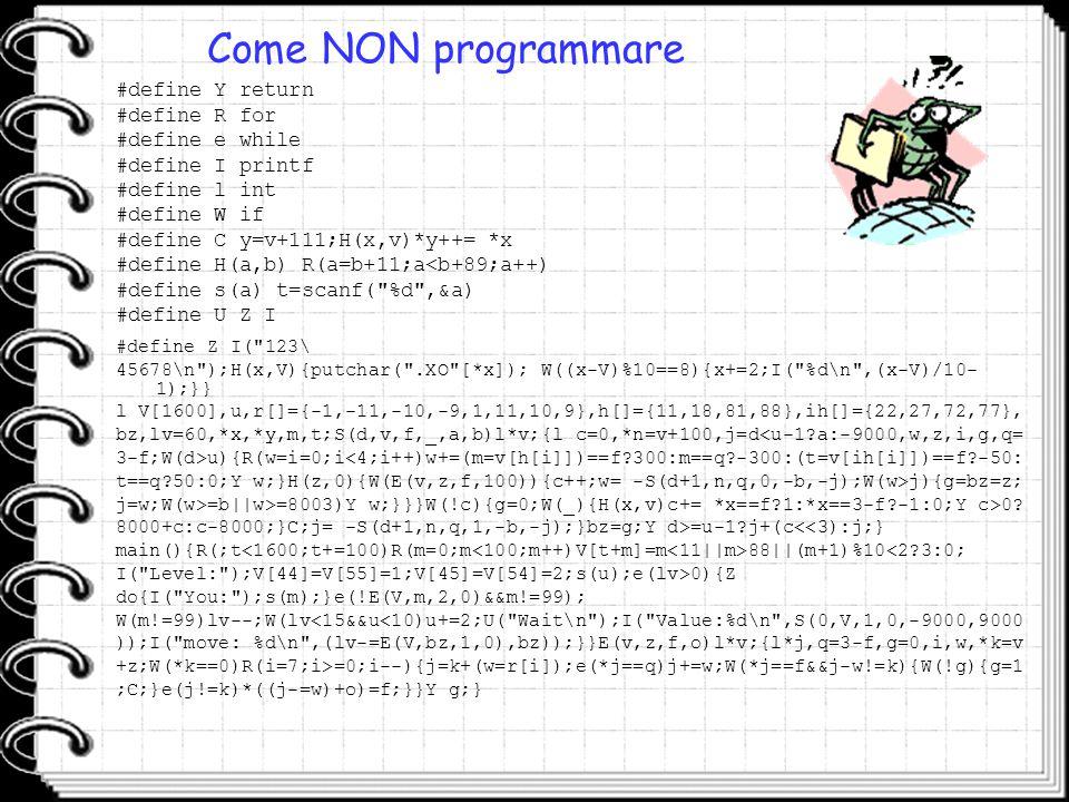 Come NON programmare #define Z I(