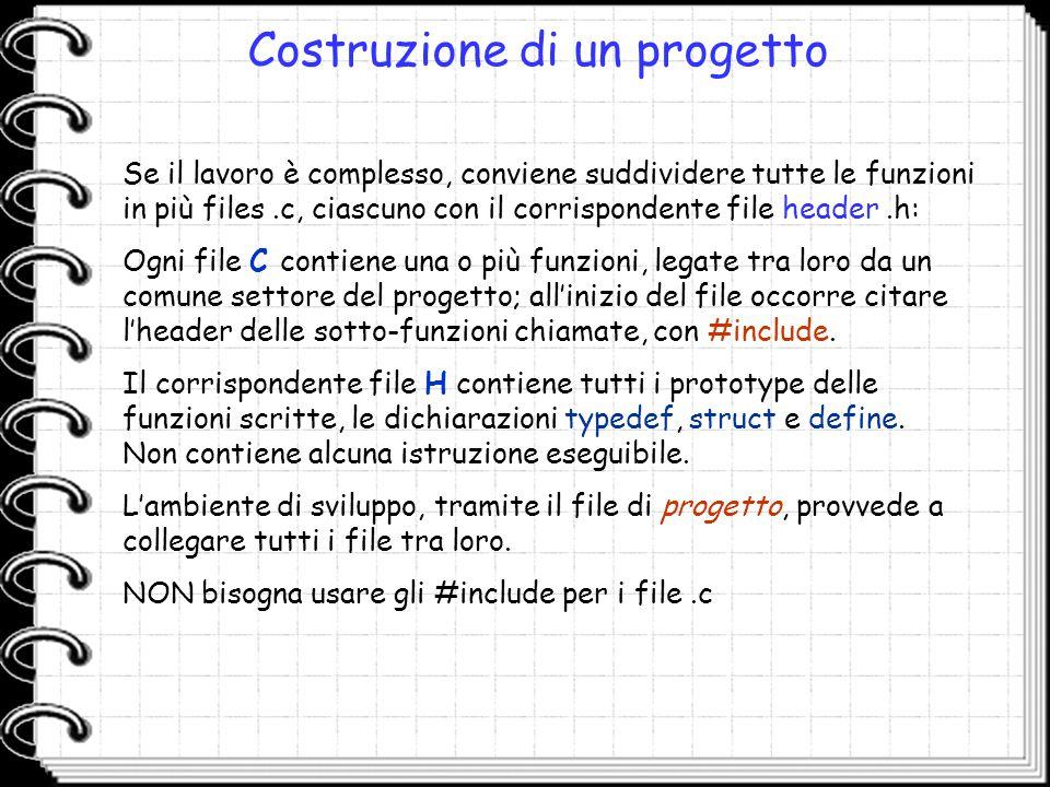 Costruzione di un progetto Se il lavoro è complesso, conviene suddividere tutte le funzioni in più files.c, ciascuno con il corrispondente file header