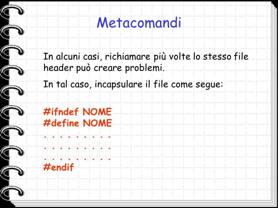 Metacomandi In alcuni casi, richiamare più volte lo stesso file header può creare problemi. In tal caso, incapsulare il file come segue: #ifndef NOME