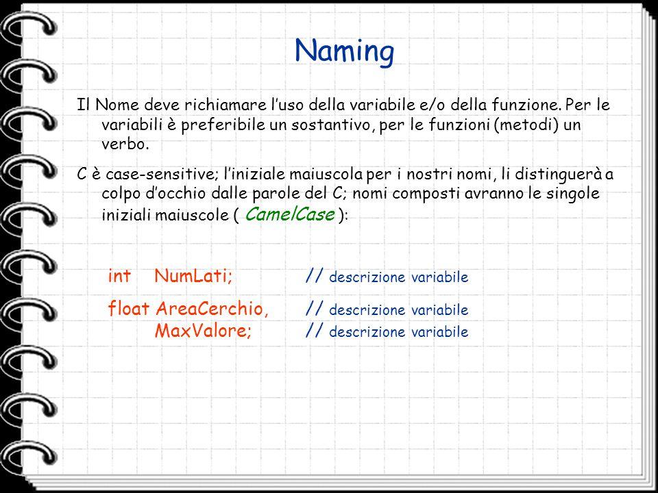 Naming Il Nome deve richiamare l'uso della variabile e/o della funzione. Per le variabili è preferibile un sostantivo, per le funzioni (metodi) un ver