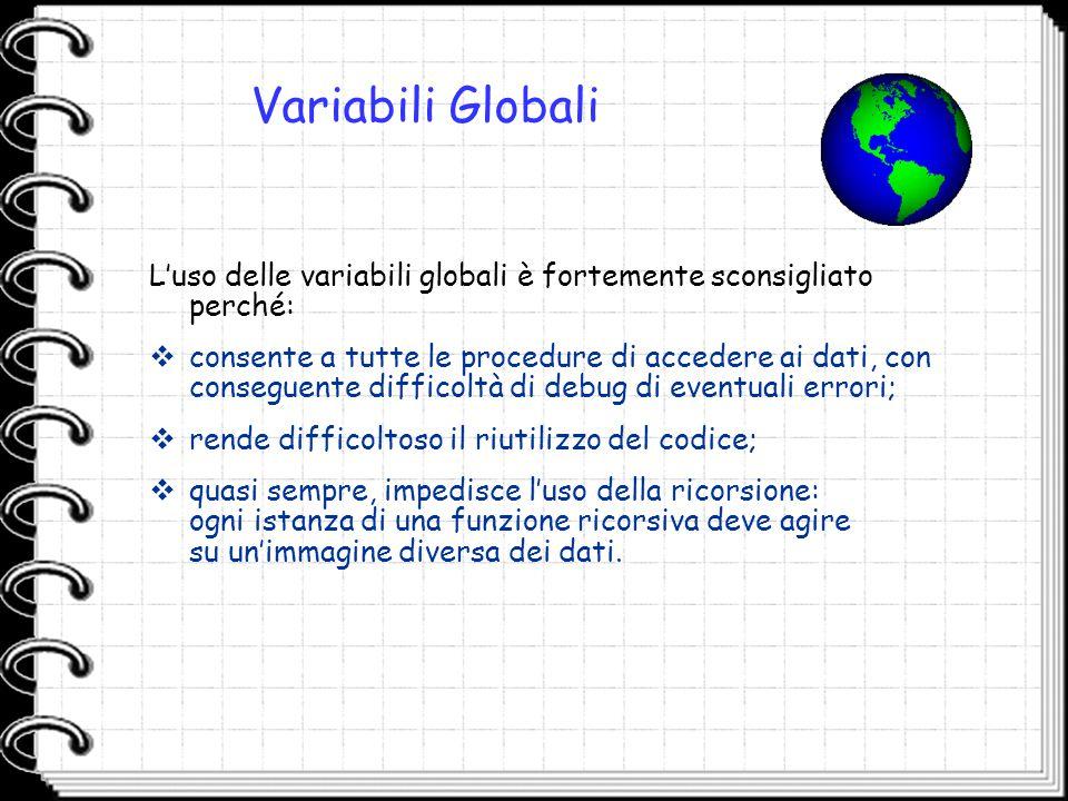 Variabili Globali L'uso delle variabili globali è fortemente sconsigliato perché:  consente a tutte le procedure di accedere ai dati, con conseguente