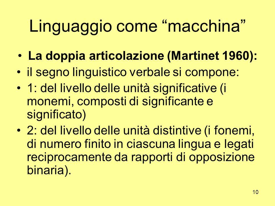 10 Linguaggio come macchina La doppia articolazione (Martinet 1960): il segno linguistico verbale si compone: 1: del livello delle unità significative (i monemi, composti di significante e significato) 2: del livello delle unità distintive (i fonemi, di numero finito in ciascuna lingua e legati reciprocamente da rapporti di opposizione binaria).