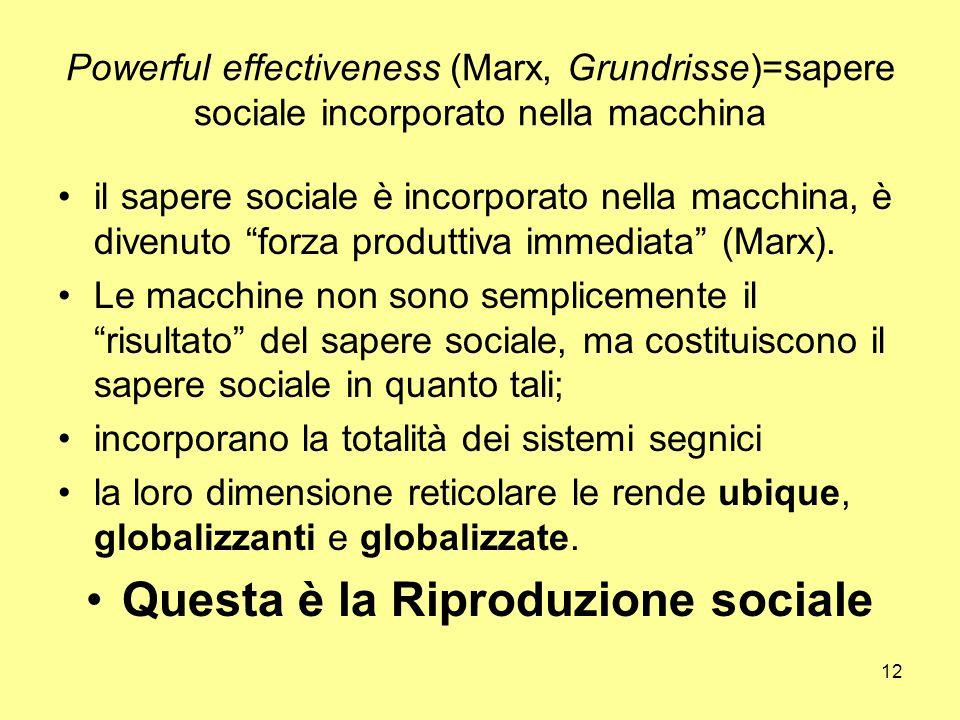12 Powerful effectiveness (Marx, Grundrisse)=sapere sociale incorporato nella macchina il sapere sociale è incorporato nella macchina, è divenuto forza produttiva immediata (Marx).