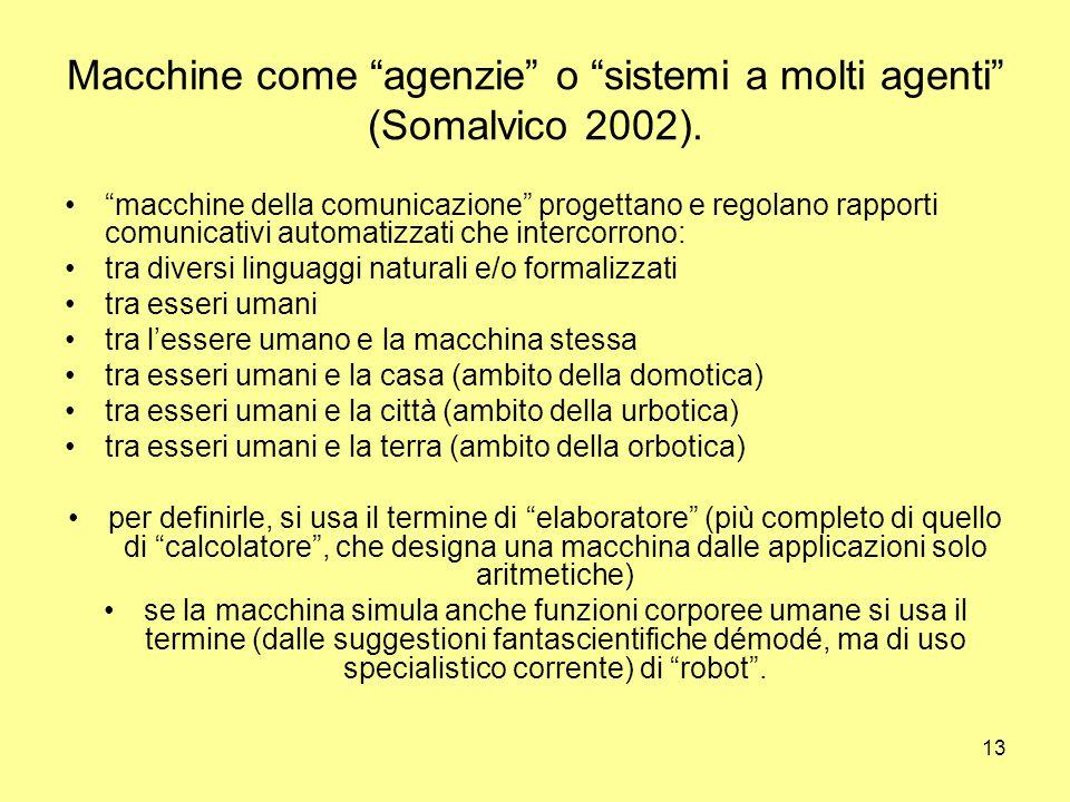 13 Macchine come agenzie o sistemi a molti agenti (Somalvico 2002).