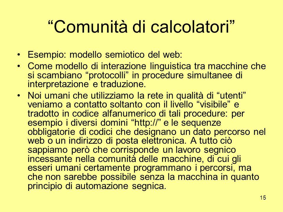 15 Comunità di calcolatori Esempio: modello semiotico del web: Come modello di interazione linguistica tra macchine che si scambiano protocolli in procedure simultanee di interpretazione e traduzione.