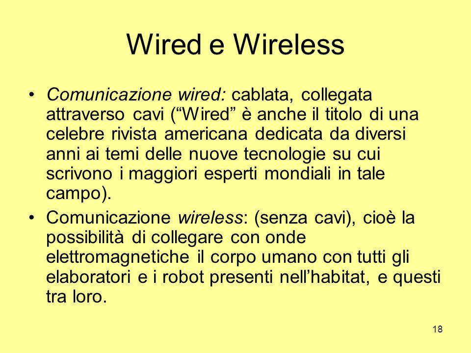 18 Wired e Wireless Comunicazione wired: cablata, collegata attraverso cavi ( Wired è anche il titolo di una celebre rivista americana dedicata da diversi anni ai temi delle nuove tecnologie su cui scrivono i maggiori esperti mondiali in tale campo).