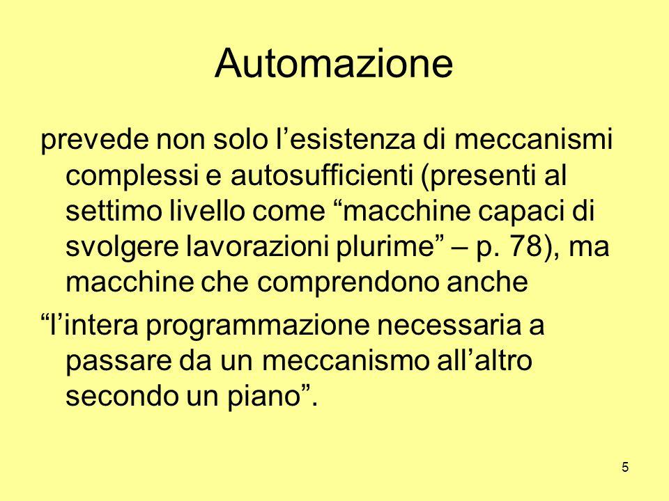 5 Automazione prevede non solo l'esistenza di meccanismi complessi e autosufficienti (presenti al settimo livello come macchine capaci di svolgere lavorazioni plurime – p.