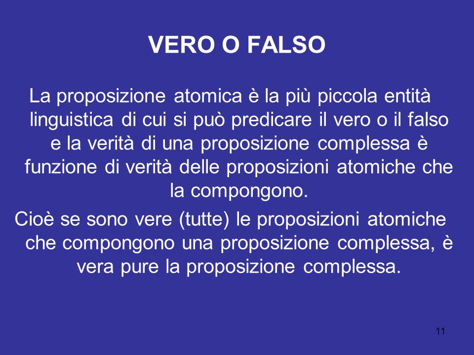 11 VERO O FALSO La proposizione atomica è la più piccola entità linguistica di cui si può predicare il vero o il falso e la verità di una proposizione