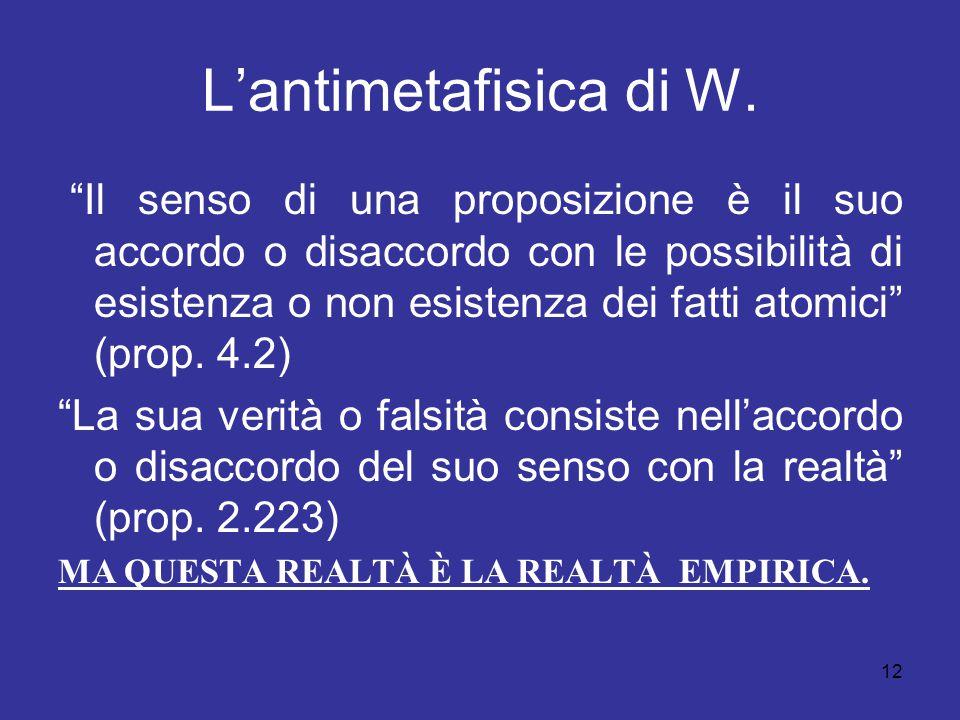 """12 L'antimetafisica di W. """"Il senso di una proposizione è il suo accordo o disaccordo con le possibilità di esistenza o non esistenza dei fatti atomic"""