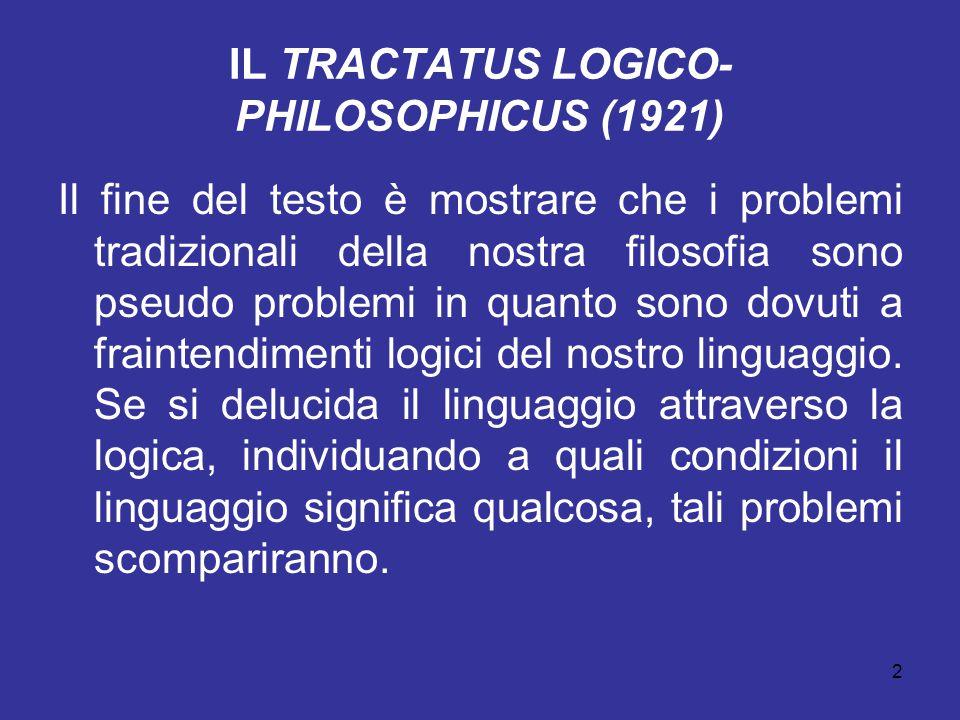 2 IL TRACTATUS LOGICO- PHILOSOPHICUS (1921) Il fine del testo è mostrare che i problemi tradizionali della nostra filosofia sono pseudo problemi in qu
