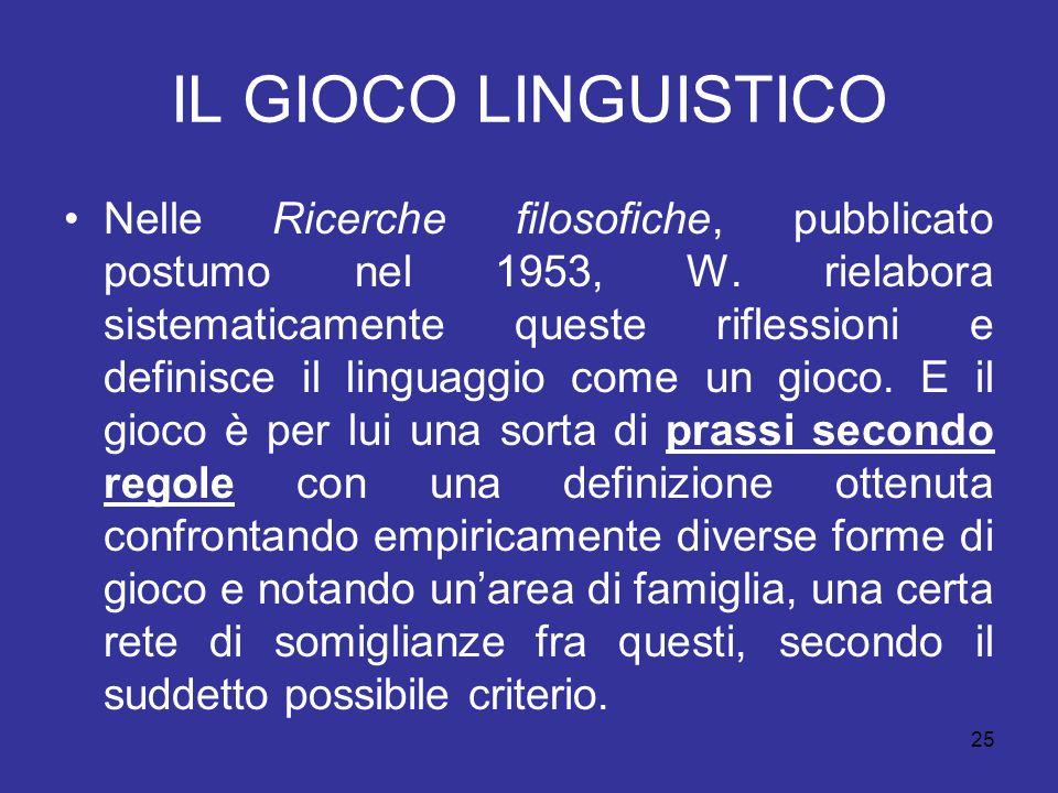 25 IL GIOCO LINGUISTICO Nelle Ricerche filosofiche, pubblicato postumo nel 1953, W. rielabora sistematicamente queste riflessioni e definisce il lingu