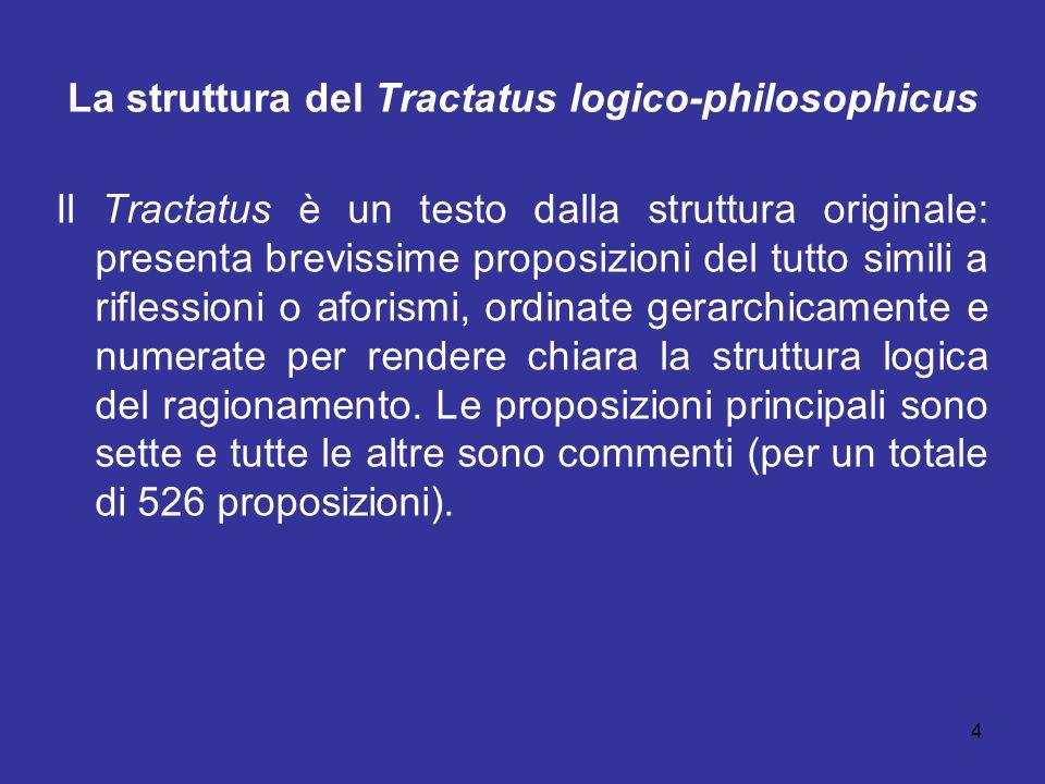 4 La struttura del Tractatus logico-philosophicus Il Tractatus è un testo dalla struttura originale: presenta brevissime proposizioni del tutto simili