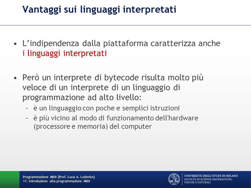 Vantaggi sui linguaggi interpretati L'indipendenza dalla piattaforma caratterizza anche i linguaggi interpretati Però un interprete di bytecode risult