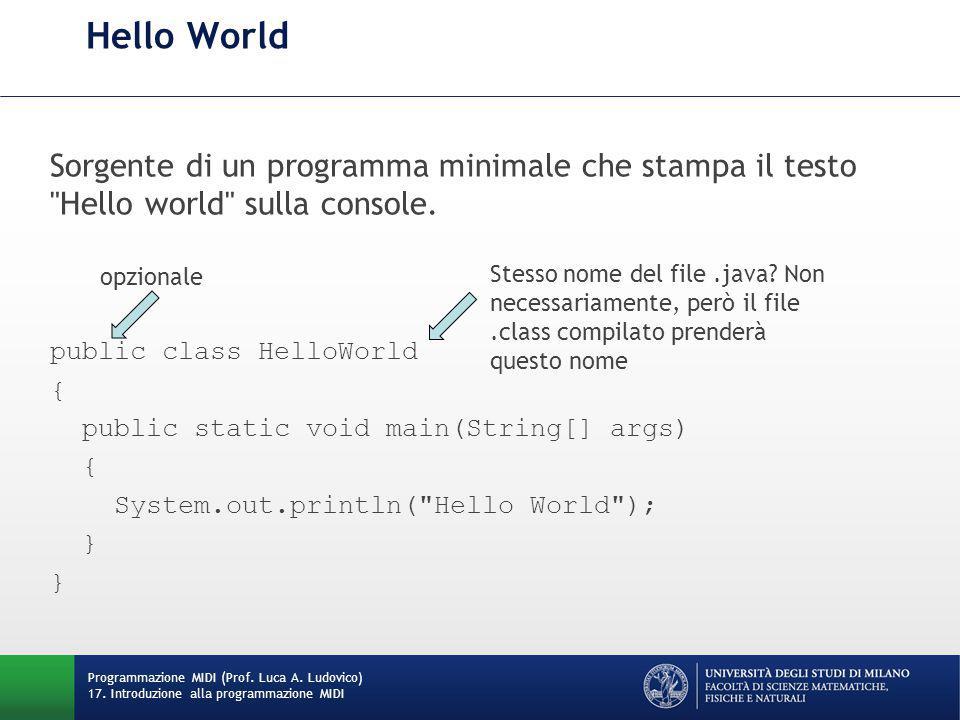 Hello World Sorgente di un programma minimale che stampa il testo