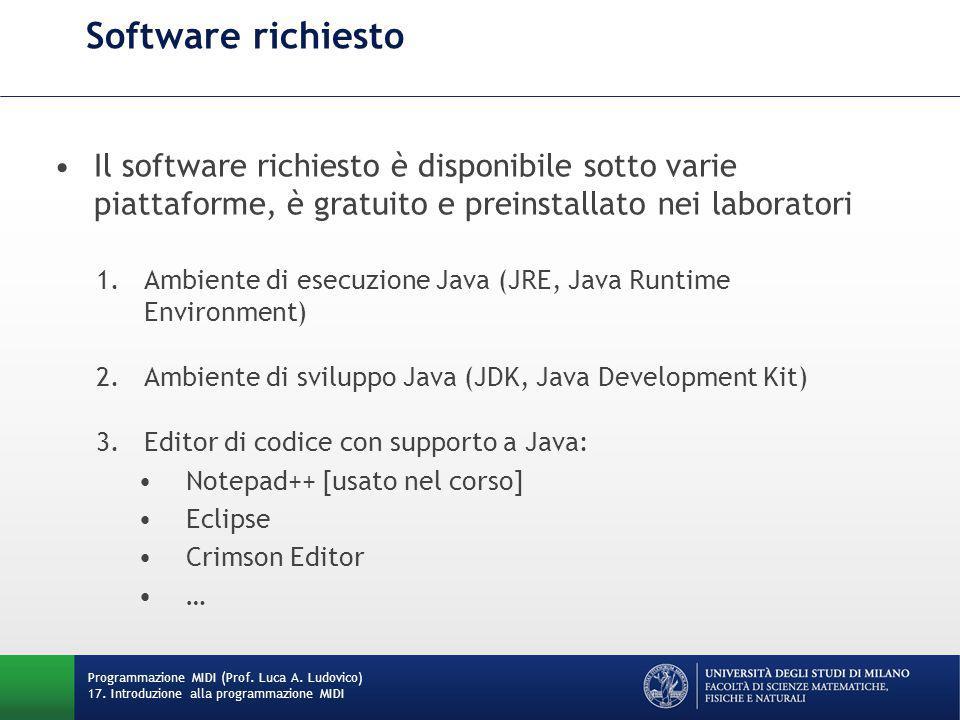 Installando il plug-in NPPExec, è possibile velocizzare la procedura di compilazione e lancio del bytecode tramite il seguente script: cd $(CURRENT_DIRECTORY) C:\Program Files\Java\jdk1.7.0_07\bin\javac.exe $(FILE_NAME) C:\Program Files\Java\jdk1.7.0_07\bin \java.exe $(NAME_PART) Lo script viene richiamato di default dalla pressione del tasto F6 –In alternativa si richiamano i software da riga di comando Script per la compilazione e il lancio in NotePad++ Programmazione MIDI (Prof.
