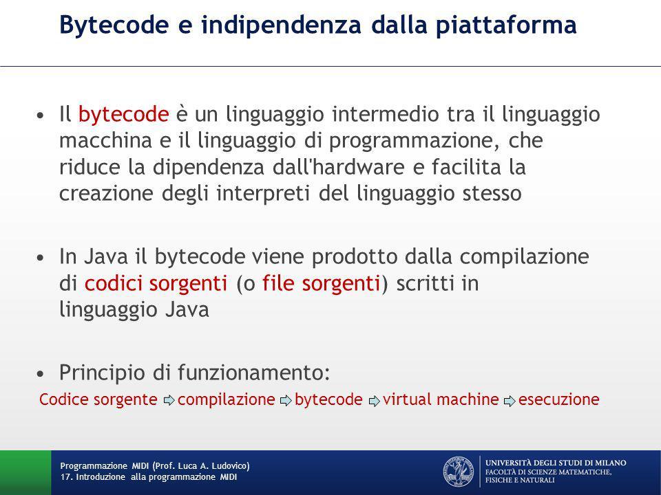 Bytecode e indipendenza dalla piattaforma Il bytecode è un linguaggio intermedio tra il linguaggio macchina e il linguaggio di programmazione, che rid