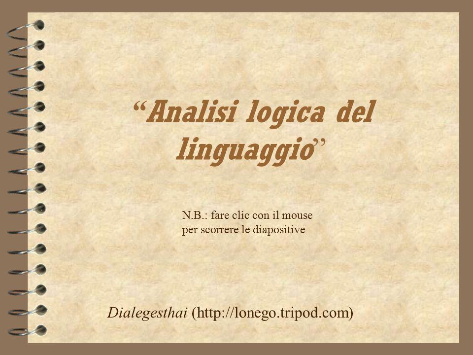 """"""" Analisi logica del linguaggio """" Dialegesthai (http://lonego.tripod.com) N.B.: fare clic con il mouse per scorrere le diapositive"""