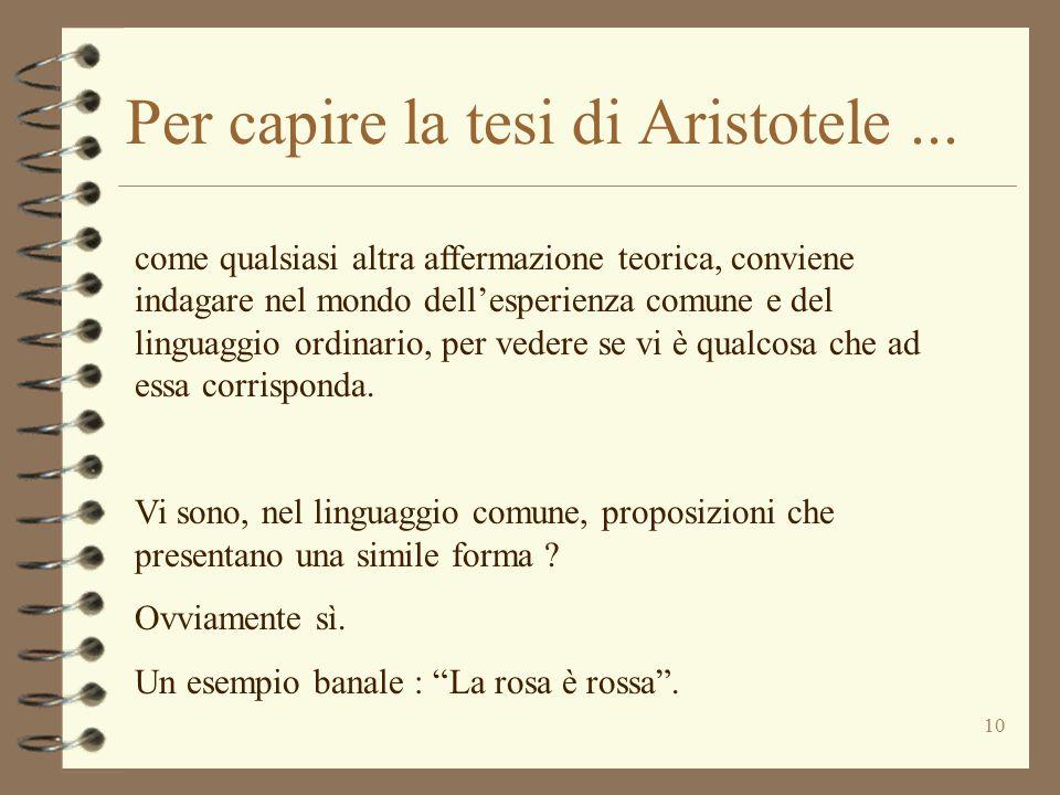 10 Per capire la tesi di Aristotele... come qualsiasi altra affermazione teorica, conviene indagare nel mondo dell'esperienza comune e del linguaggio