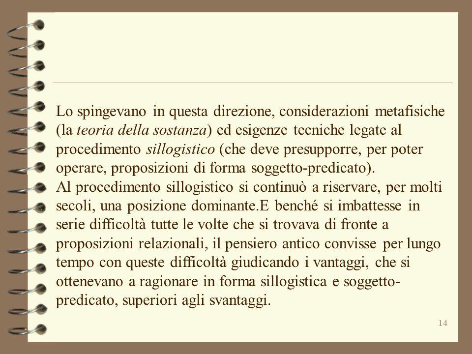 14 Lo spingevano in questa direzione, considerazioni metafisiche (la teoria della sostanza) ed esigenze tecniche legate al procedimento sillogistico (
