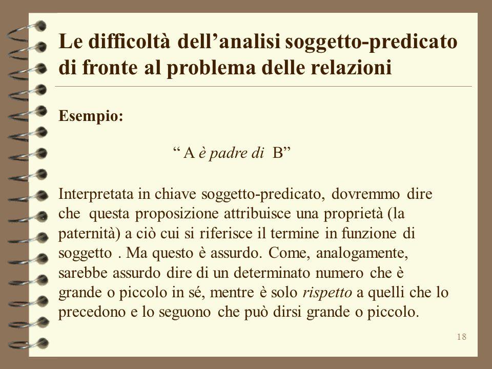 """18 Le difficoltà dell'analisi soggetto-predicato di fronte al problema delle relazioni Esempio: """" A è padre di B"""" Interpretata in chiave soggetto-pred"""