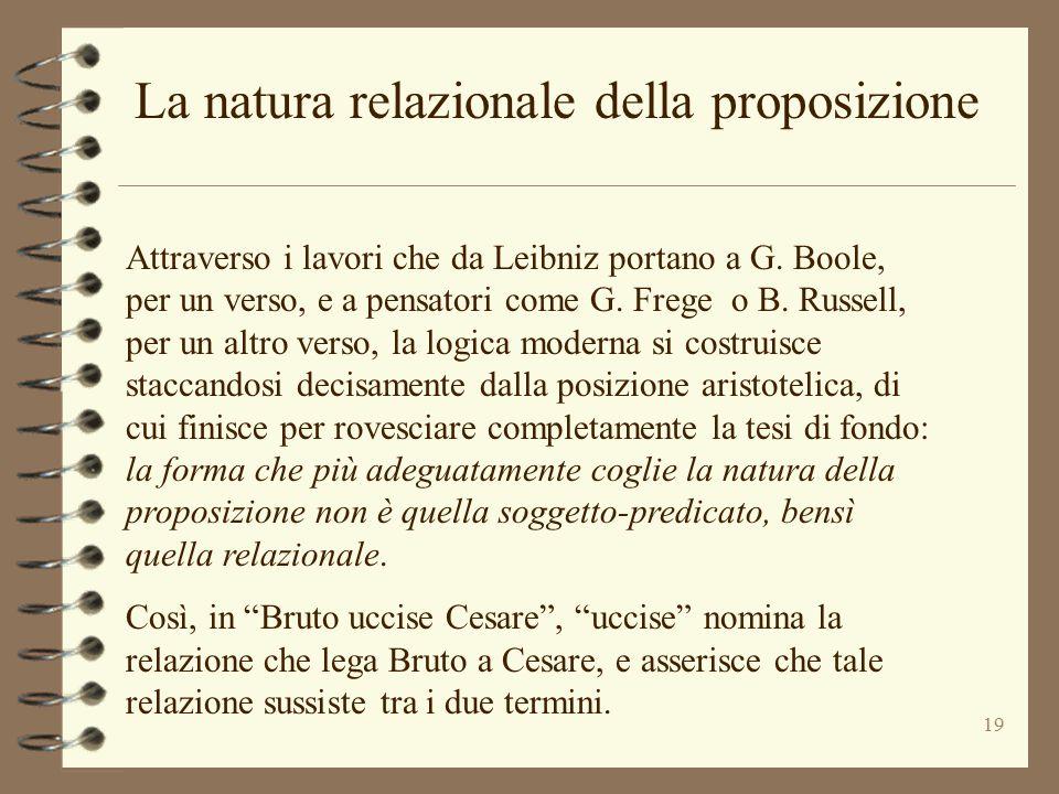 19 La natura relazionale della proposizione Attraverso i lavori che da Leibniz portano a G. Boole, per un verso, e a pensatori come G. Frege o B. Russ
