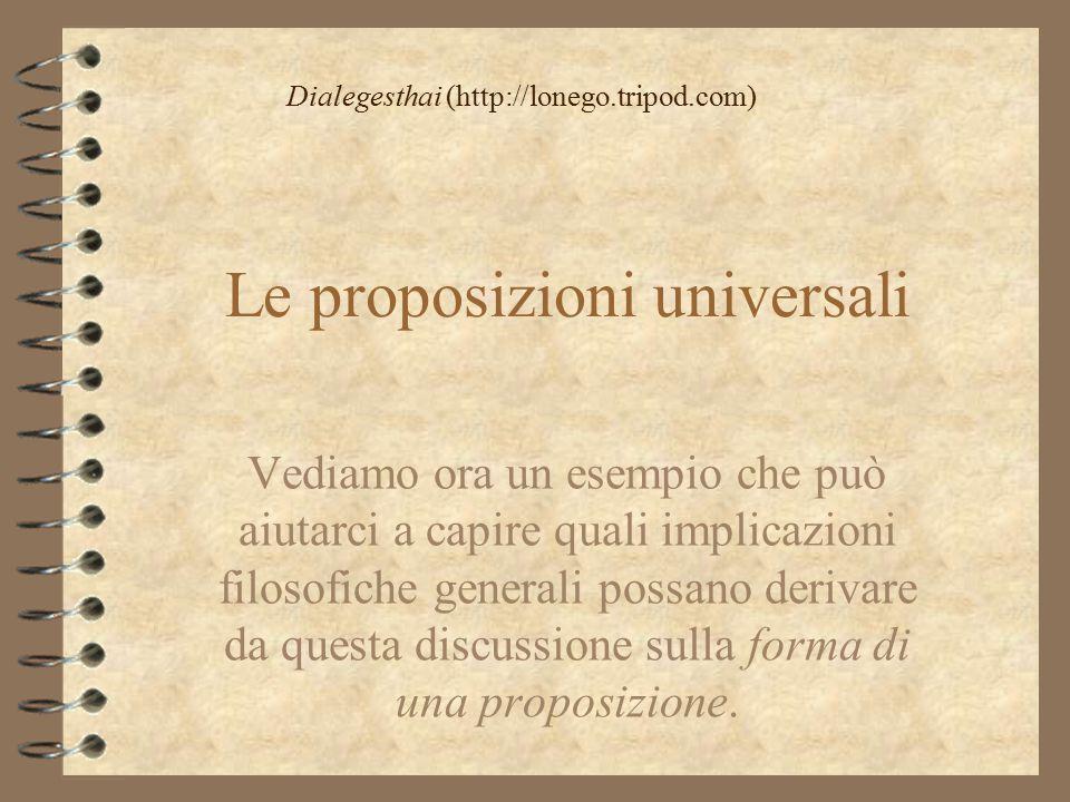 Le proposizioni universali Vediamo ora un esempio che può aiutarci a capire quali implicazioni filosofiche generali possano derivare da questa discuss