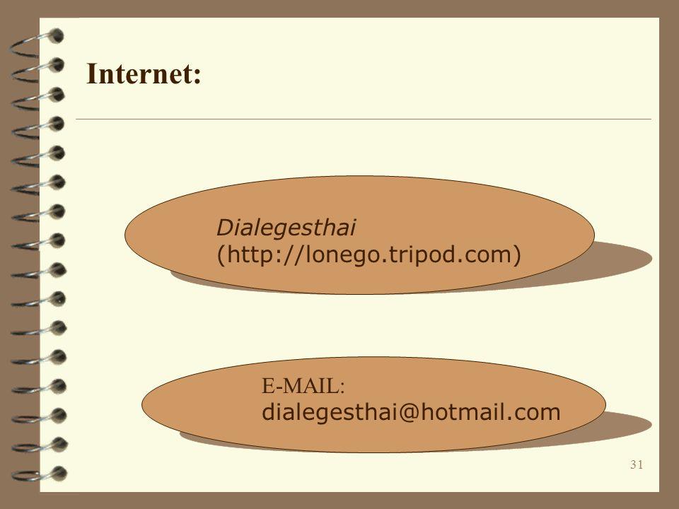 31 Dialegesthai (http://lonego.tripod.com) E-MAIL: dialegesthai@hotmail.com Internet: