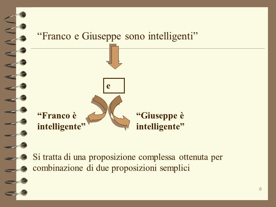 """6 """"Franco e Giuseppe sono intelligenti"""" """"Franco è intelligente"""" """"Giuseppe è intelligente"""" e Si tratta di una proposizione complessa ottenuta per combi"""